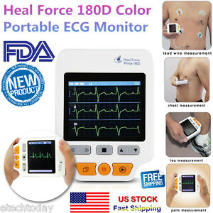 Portable 180d Ecg Monitor Heal Force Color lead Cables And 50pcs Ecg Electrodes