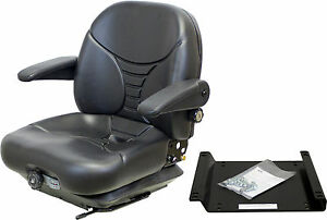 Kubota M Series Seat And Suspension Black Vinyl W scuff Marks And Crack On Back