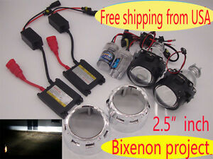 Universal 2 5 Inch Bi xenon Hid Projector Lens Car Headlight 35w Xenon Kit 6000k