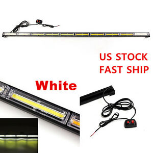 Universal White Cob Led Strobe Traffic Emergency Light Bar Warning Lamp Car Us