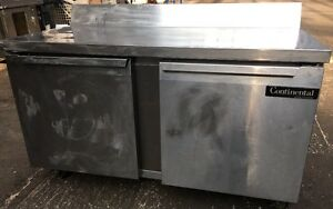 Continental Commercial Portable Ss 2 Door Cooler Prep Table Model Sw60 bs