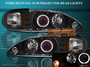94 98 Ford Mustang Projector Headlights Blk Halo 97 96