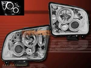 2005 2009 Ford Mustang Projector Headlights Ccfl Twin Halo Gt Chrome Clear