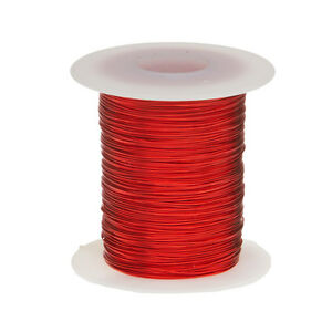 22 Awg Gauge Heavy Copper Magnet Wire 8 Oz 250 Length 0 0276 155c Red