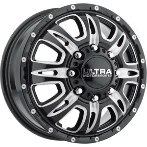 17x6 5 Ultra 049bm Predator Dually Black Wheels Rims 129 8x210 Qty 4