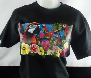 Parrots Hibiscus Tropic Heat Press Transfer Design T shirt Sweatshirt Bag Tote