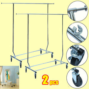 2x Single Bar Folding Telescopic Balcony Clothes Hanger Clothing Rolling Rack E2
