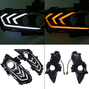 2x Drl Led Daytime Running Light Fog Lamp Cover For Ford Fusion Wagon 13 2016