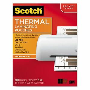 Scotch Tp5854100 Letter Size Thermal Laminating Pouches 5 Mil 8 1 2 X 11