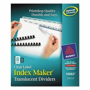 Avery 16063 Print Apply Clear Label Unpunched Dividers 8 tab Ltr 5 Sets