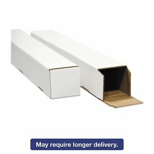 General Supply Stw3348 Square Mailing Tubes 48l X 3w X 3h White 25 pack