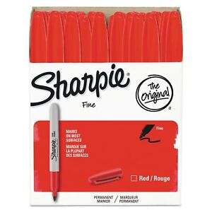 Sharpie 1920937 Fine Point Permanent Marker Red 36 pack