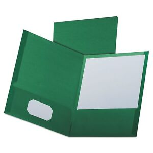Oxford 53434 Linen Finish Twin Pocket Folders Letter Hunter Green 25box