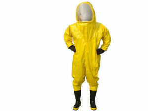 Heavy Type Fully Enclosed Chemical Protective Suit Yellow With Respirator Bag U