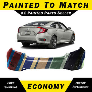 New Painted To Match Rear Bumper Cover For 2016 2019 Honda Civic Sedan 16 19