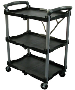 Rolling Utility Cart Olympia Durable Folding Push 3 Shelf Wheels Tool Mobile New