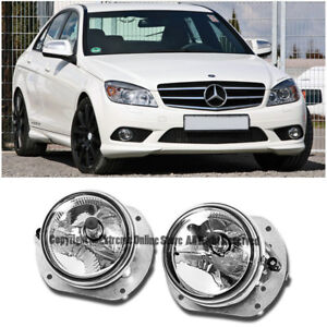 For Mb 07 09 W211 E63 Amg 08 11 W204 C class Front Bumper Clear Lens Fog Lights