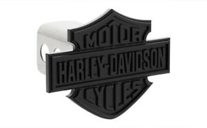 Harley Davidson Matte Black Bar Shield Trailer Tow Hitch Cover Plug Cap 2 Post