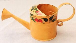 Vintage Toleware Tole Painted Watering Can Miniature Country Decoration