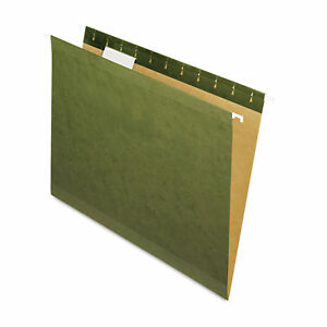 New Hanging File Folders 1 5 Tab Letter Standard Green 25 box pfx415215