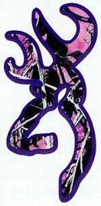 Muddy Girl Camo Buck Decal With Purple Background 5 Tall