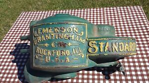Antique Emerson Brantingham Cast Iron Gear Cover Mowing Machine Farm Equipment