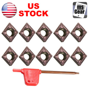 10pcs Ccmt060204 Carbide Inserts Blades For Turning Tool Boring Bar Lathe Us