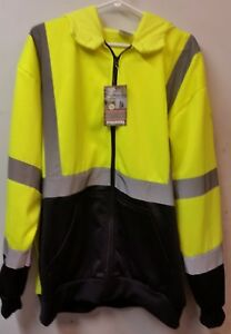 Hi vis Zipper Front Hooded Jacket Meets Ansi isea 107 2010 Class 3 Size 2xl