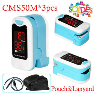 Cms50m 3pcs Finger Pulse Oximeter Spo2 Blood Oxygen Meter Heart Rate Monitor Usa