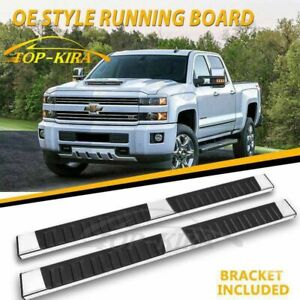 Fit 99 18 Chevy Silverado Double Cab 6 Running Boards Side Step Nerf Bar S S H