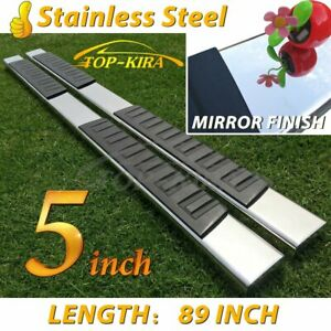 For 01 16 Chevy Silverado Crew Cab 5 Running Boards Side Step Stainless Steel H