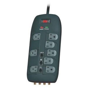 Power Zone Or503118 Surge Protector Strip 8 Outlet 6 39 Black