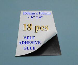 18 Self Adhesive Flexible Refrigerator Magnet Sheets 15x10cm 6x4 Peel Stick