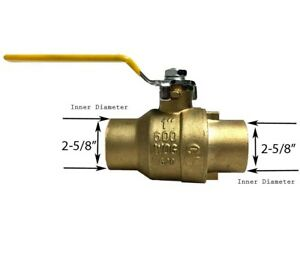 Libra Supply 2 1 2 Inch 2 1 2 Lead Free All Sweat Brass Ball Valve 600 Wog