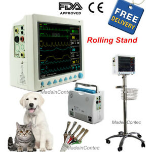 Vet Veterinary Icu ccu Vital Signs Patient Monitor 6parameters rolling Stand Us