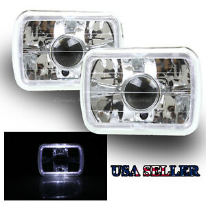 White Led Halo 7x6 H6054 H6014 Clear Chrome Projector Lens Housings Headlights