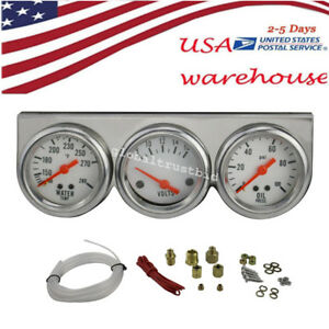 Newest Auto 52mm Chrome Oil Pressure Water Volt Triple 3 Gauges Set Kit Us Ship