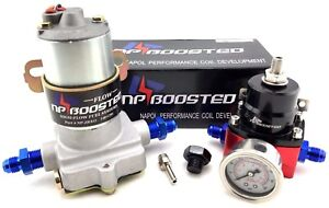 New Inline 140gph Universal Electric Fuel Pump W Regulator Pressure Gauge An6