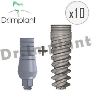 10 Spiral Implant With Straight Abutment Sets Comp With Alpha Bio Biohorizons