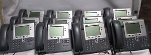 Lot Of 12 Cisco Cp 7940g Ip Phones 7900 Series With Stand And Handsets Used