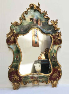 Vintage Antique Italian Rococo Wood Gilt Hand Painted Mirror