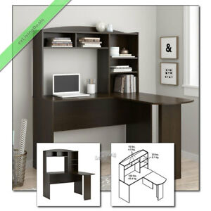 L Shaped Home Office Desk With Hutch Laptop Computer Corner Organizer Cherry