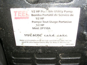1 Used Teel 2p110a 1 2 Hp Portable Utility Pump