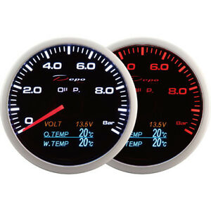 Depo Racing 60mm 4 In 1 Smoked Oil Pressure Volt Oil Temp water Temp Gauge Led