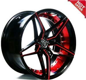 22 Mq 3259 Wheels Black With Red Inner Staggered Rims 5x114 3 Fit Ford Mustang