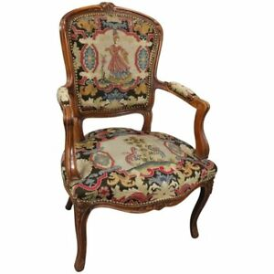 Vintage French Louis Xv Classical Style Fruitwood And Tapestry Armchair