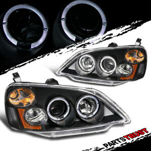 Led Halo For 2001 2003 Honda Civic 2 4dr Coupe Sedan Projector Blk Headlights