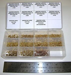 Bottom Pin Rekeying Kit For Master And American Padlocks Has 100 Pins Each Size