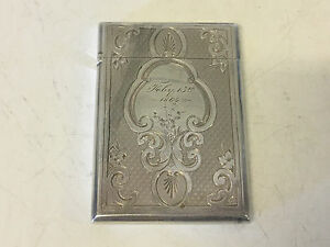 Antique Gorham Sterling Silver Card Case Dated 1864 W W Monogram