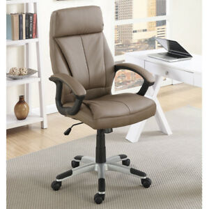 Home Office Task Executive Chair Height Adjustable Brown Plush Foam Seating